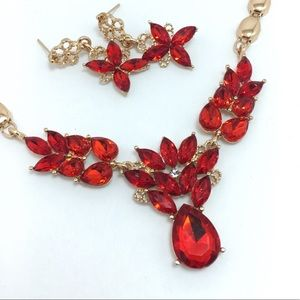 Red Crystal Statement Necklace Set